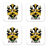 Tamm Family Crest Square Coasters Coat of Arms Coasters - Set of 4