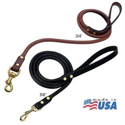 Weaver Briarwood Rolled Leather Leash 3/4'' x 4' Chestnut