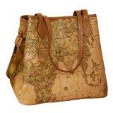 Buenocn Vintage Style World Map Faux Leather Handbag Shoulder Bag Shy015