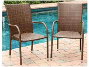 Palermo 2-pc Outdoor Brown Wicker Dining Armchair