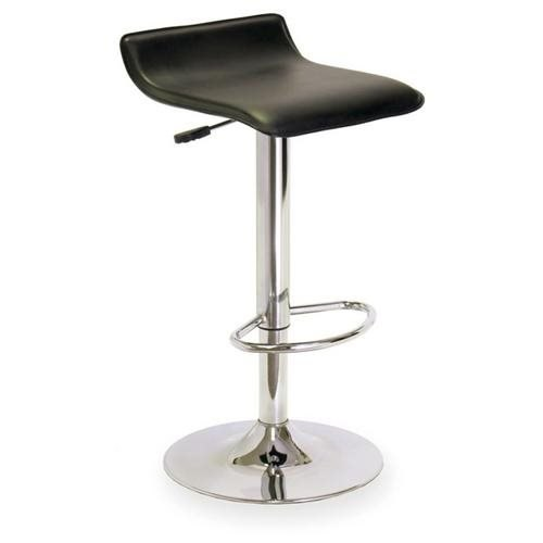 Airlift Stool with Black Faux Leather Seat in Polished Steel Finish
