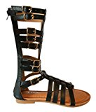 Girls Fashion Kid's Knee High Flat Greek Roman Shoes Gladiator Thong Sandals (Svnah-9k, Black-2)