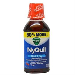 Nyquil Cold & Flu Relief Liquid by Vicks for Unisex - 12 oz Cough Suppressant