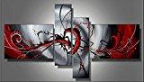 Cherish Art Hand Painted Oil Painting Gift Blood River 4 Panels Wood Inside Framed Hanging Wall Decoration - (12x16Inchx2, 8x24Inchx2)