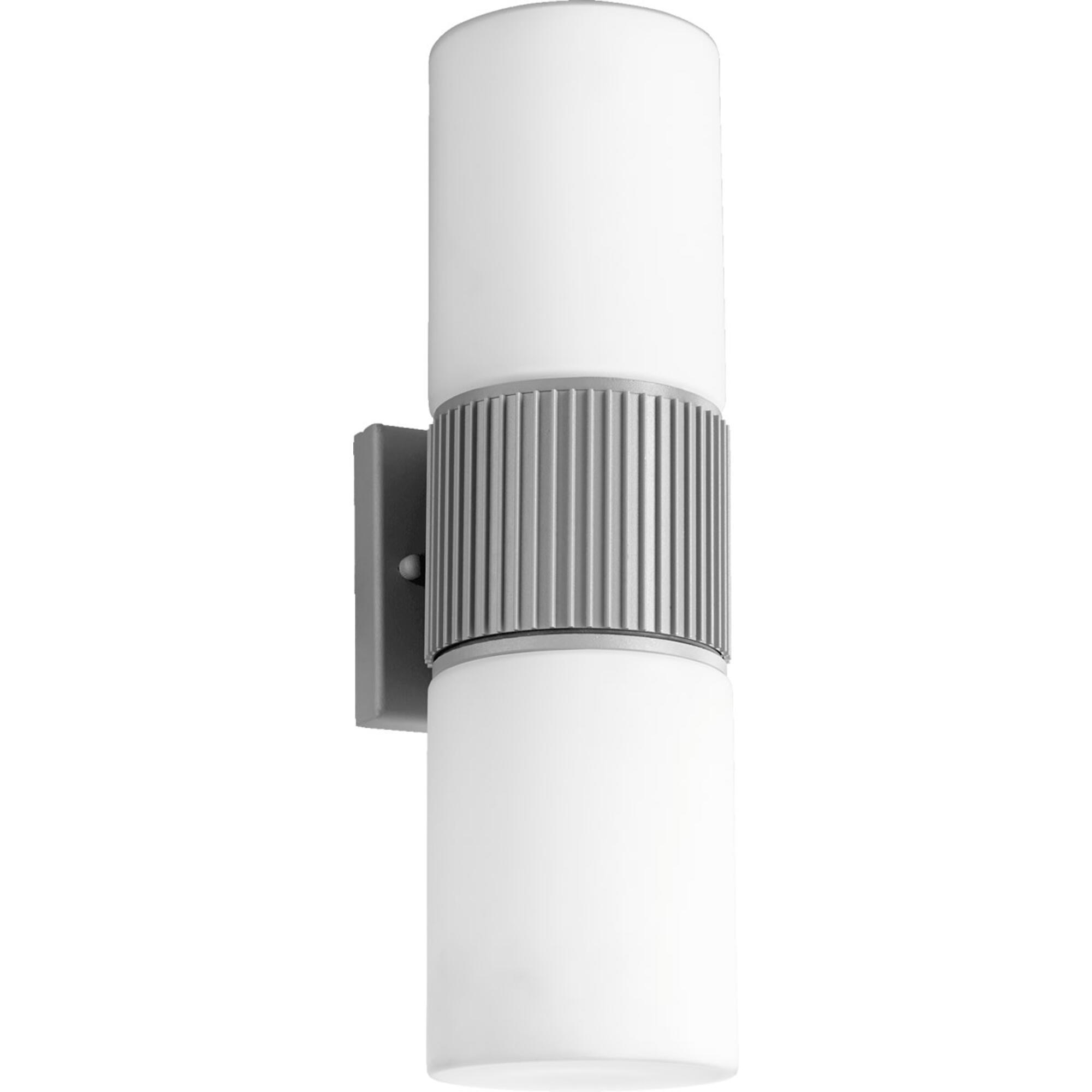 Manhattan 2-Light Wall Sconce Grey by Quorum. Modern Design Perfect for front door, garage door or back door
