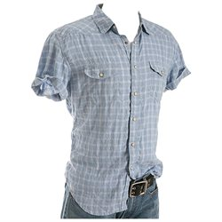 New Lucky Brand Apparel Linen Western Blue/White XL Mens Shirt