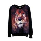 Womens Girls T-shirt 3d Animal Lion Print Long Sleeve Fleece Blouse Tops Tees