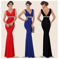 V-neck & V-back crystal waist night gown (Silk fabric)
