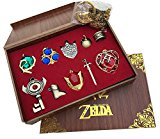 The Legend of Zelda Triforce Hylian Shield & Master Sword Keychain/necklace/ornament Collection (10PCS-Red)