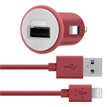 Belkin F8j090bt04-red Car Charger W/ Lightning Chargesync Cable