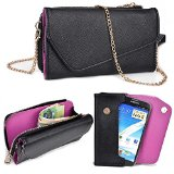 Asus Zenfone 5 Wallet Wristlet Clutch With Crossbody Chain and Hand Strap (Removable) and Credit Card Slots| Black & Exotic Purple