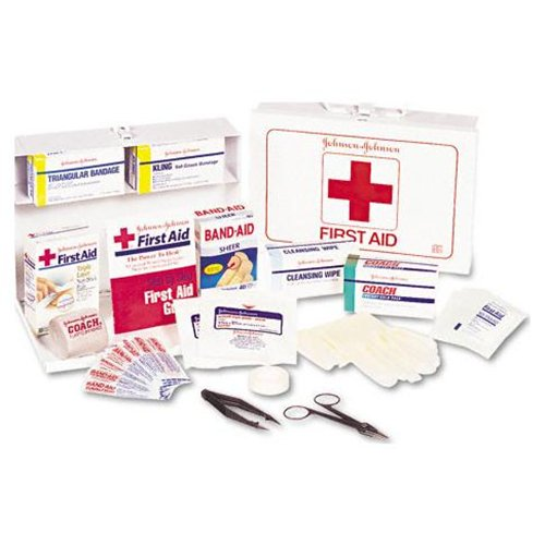 Johnson & Johnson Red Cross Nonmedicinal First Aid Kit for 25 People, 87 Pieces, Metal Case