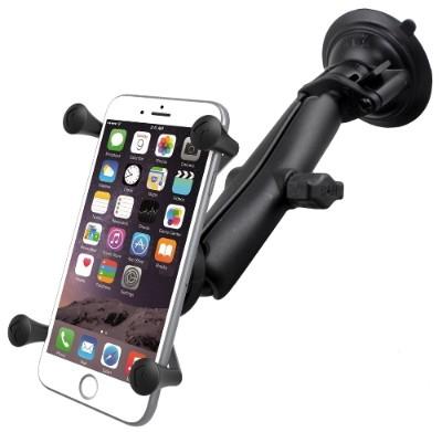 Ram Mounts Ram-b-166-c-un10u Twist Lock Suction Cup Mount With Long Length Double Socket Arm & Universal X-grip Large Phone/phablet Cradle
