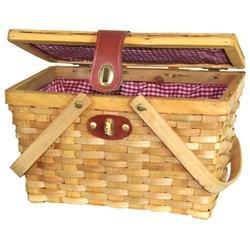 Chipwood Picnic Basket, Picnic Basket, One, Two, Wicker, Brown
