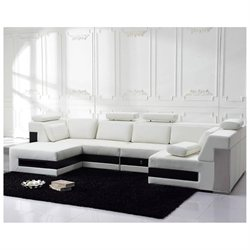 Tosh Furniture Modern Leather Sectional Sofa With Drawers