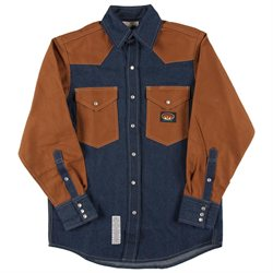Rasco FR Denim-Brown Duck Western Shirt with Snaps 10 oz