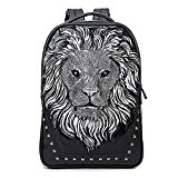 Wua 3D Lionhead PU Leather School Bag Studded Personalized Backpack Casual Laptop Shoulder Bag for Boys and Girls/ Women and Men (Silver)