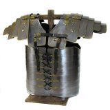 Antique Reproduction Full-Size Roman Lorica Segmenta Steel Chest Plate Armor - Silver Iron Metal