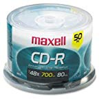 Maxell MAX648250 CD Recordable Media, CD-R, 48x, 700 MB, 50 Pack Spindle