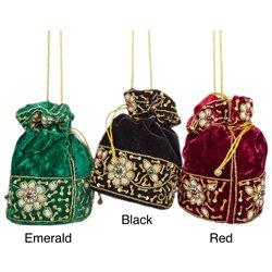 Velvet Potli Drawstring Bag with Zardozi Embroidery (India)