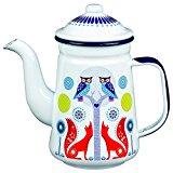 Folklore Enamel Coffee Pot, Day Design, White (33 Ounces)