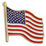 United States Waving American Flag Stars and Stripes Lapel Pin
