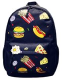 Coofit Kids Backpacks Hamburger Pizza Chips Canvas Daypack for School Travel
