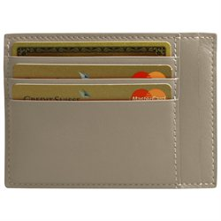 LUCRIN - Credit Card and Bill Holder - Smooth Cow Leather - Light taupe