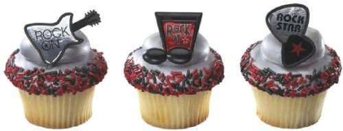 Official Crispie Sweets Cupcake Topper KIT - Rock On! - w/ Dusting Sugar Sampler & Bonus Card - 24 Rings - Eligible for Amazon Prime!