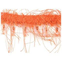 Beaded Eyelash Trim 2 Wide 10 Yards-Orange