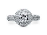 Sterling Silver 925 Round Cut Cubic Zirconia CZ Micro Pave Halo Ring Women's Jewelry