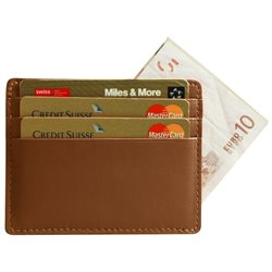 LUCRIN - Credit Cards / bill Holder - Smooth Cow Leather - Tan