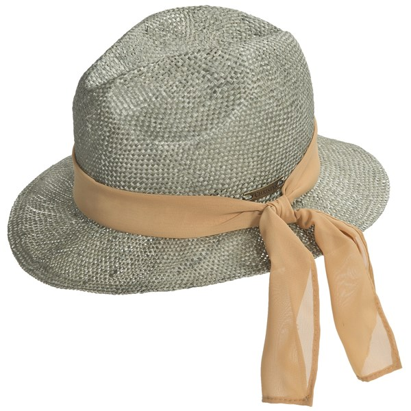 Christys? London Crown Straw Fedora Hat - Scarf Banded (for Women)