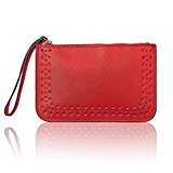 Women Leather Purse Solid Dot Coin Phone Pouch Zipper Clutch Wristlet Wallet Red