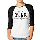 Womens Black Cat Rescue Jerseys Baseball Raglan T Shirts
