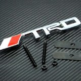 New TRD Logo Grill Grille Emblem (UNIVERSAL FITMENT FOR ALL VEHICLES) Red and Silver
