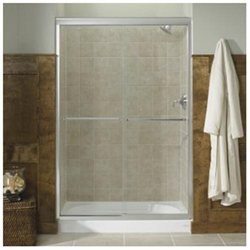Fluence Sliding Shower Door, 70-5/16 H X 44-5/8 - 47-5/8 W, with 1/4 Thick Falling Lines Glass - Finish: Bright Polished Silver
