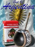 ARGENTINA MATE KIT: Leather covered gourd w/