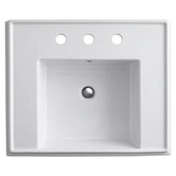 Tresham Lavatory Basin with Single Hole Faucet Drilling - Drilling: 4 Centerset, Finish: Mexican Sand