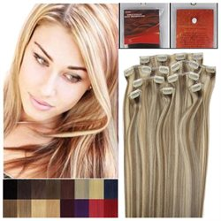 20 8pcs Full Head Clip On Straight Real Remy Human Hair Extensions 8/613 Beauty Salon 100G WOMEN