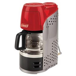 Coleman 2000010692 Portable Propane Coffeemaker Red with Glass Carafe