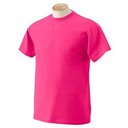 Fruit of the Loom Men's 5.4 oz. Cotton T-Shirt, Retro Heather Pink, Size Medium