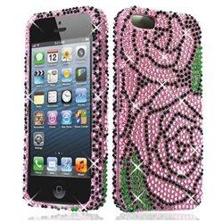 Apple iPhone 5 iPhone 5s Hard Case Cover - Pink Rose On Black w/ Full Rhinestones