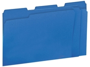 Colored File Folders, 1/3 Cut One-Ply Top Tab, Letter, Blue, 100/Box