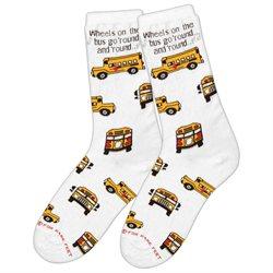 School Bus Driver Socks- Wheels on the Bus Crew Length Footwear Holiday Gift