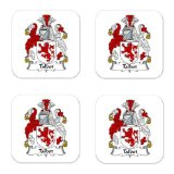 Talbot Family Crest Square Coasters Coat of Arms Coasters - Set of 4