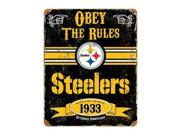 """Party Animal Steelers Vintage Metal Sign - 1 Each - Obey The Rules Print/message - 11.5"""" Width X 14.5"""" Height - Rectangular Shape - Heavy Duty, Embossed Letteri"""