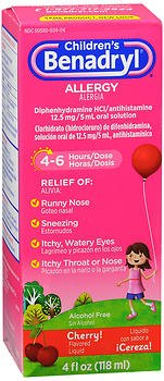 Benadryl Children's Allergy Liquid Cherry - 4 oz, Pack of 2