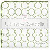 SwaddleDesigns Organic Ultimate Receiving Blanket, Mod Circles on Ivory with Jewel Tone Trim, Kiwi
