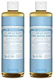 Dr. Bronner's Pure-Castile Liquid Soap Shower and Travel Pack - Baby Unscented 16oz. (2 Pack)